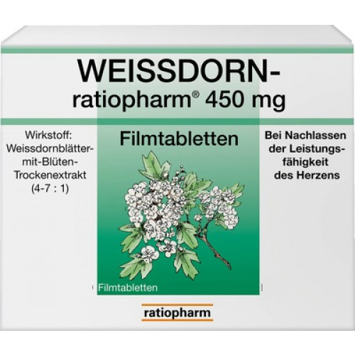 WEISSDORN RATIOPHARM 450 Mg Filmtabletten 50 St
