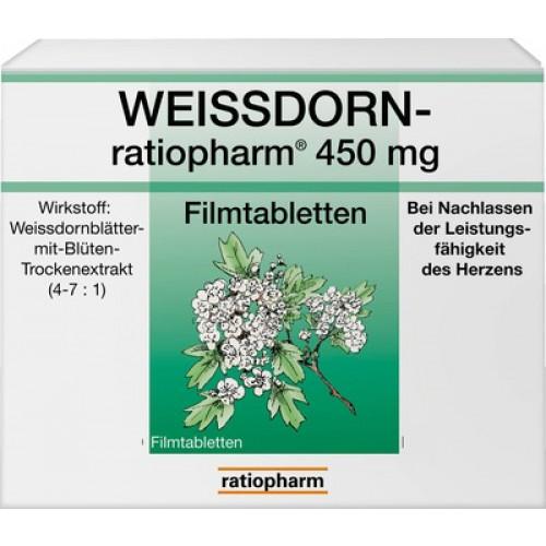 WEISSDORN RATIOPHARM 450 Mg Filmtabletten 100 St