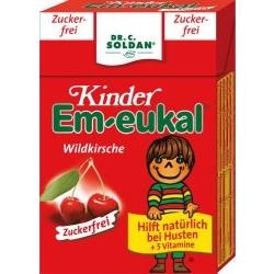 Em-eukal Kinder Bonbons Minis Wildkirsche, zuckerfrei, Pocketbox 40g