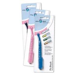 miradent Pic-Brush Interdentalbürsten Intro Kit blau 1 Halter + 4 Bürsten